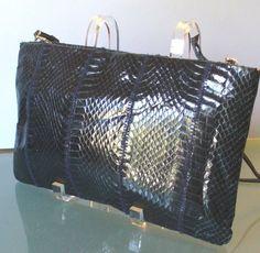 Vintage Clemente Navy Blue Snakeskin Bag by TheOldBagOnline, $34.99