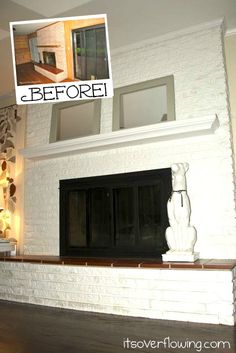 How to paint a fireplace white!!  via Aimee @ItsOverflowing