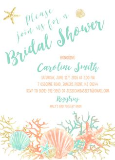 Boho Beach Bridal Shower Invitation Coral Starfish by CasaConfetti