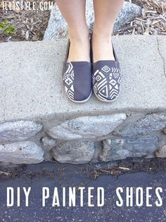 Cute DIY painted shoes. Love the fun designs added to a basic pair of shoes. - illistyle.com