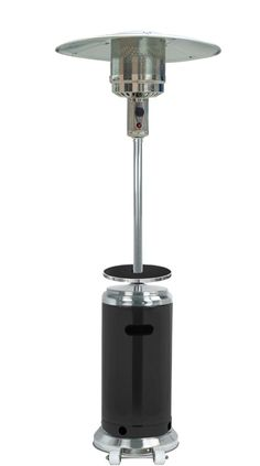 """TFPS Patio Heaters 87"""" Two Tone Outdoor Patio Heater with Table Black & Stainless Steel - HLDS01-SSBLT 3 Propane Patio Heater, Outdoor Heaters, Propane Tanks, Burner Covers, Adjustable Table, Outdoor Seating Areas, Black Stainless Steel, Door Design, Wheels"""