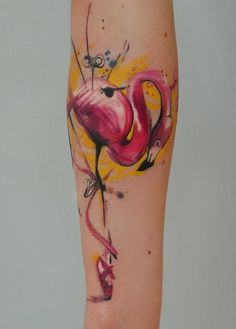Flamingo watercolor tattoo