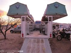 "Cool roof top tent mobile ""hotel"" trailer. I would love to have something like…"