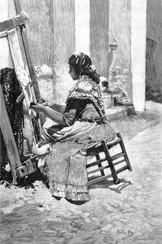 Mujer sentada en silla de anea haciendo tul