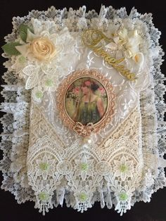 Shabby chic lace wall hanging