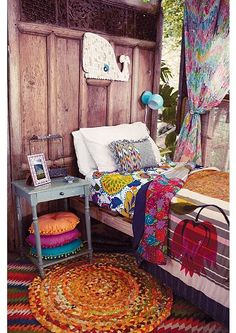 I love this Bohemian interior design and this room is a beautiful part of a bohemian home decor theme. I love the bold colors mixed in with ecletic bohemian wall art and Bohemian decorative accents. A Gallery of Bohemian Bedroom Boho Chic Bedroom, Bohemian Bedrooms, Dream Bedroom, Bedroom Decor, Bedroom Ideas, Boho Room, Outdoor Bedroom, Gypsy Bedroom, Girls Bedroom