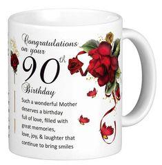 90th Birthday Mother 90th Birthday Gift Mug by MoonlakeDesignMugs