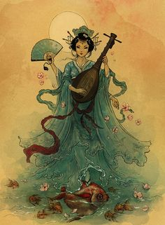 Benzaiten, or Benten, the Japanese Shinto equivalent to the Hindu goddess Saraswathi. She is associated with good luck, protection and water. She also is a patron deity of music and language.