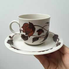Arabia of finland cup and saucer, collection Cafe designed by Gunvor Olin Gronqvist from the It's available in my shop at Etsy now. Cafe Design, Cup And Saucer, Finland, 1970s, I Shop, Tea Cups, Tableware, How To Make, Etsy