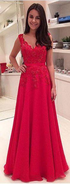 Long Prom Dress, Red Prom Dress, Ch