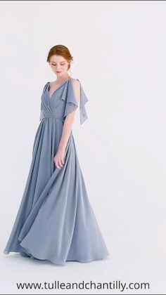 V-neck Long Chiffon Bridesmaid Dress with Flutter Sleeves dusty blue chiffon long bridesmaid dress Dresses Trendy Dresses, Nice Dresses, Short Dresses, Dresses Dresses, Ladies Dresses, Dress Outfits, Fashion Dresses, Dress Up, Dress Casual