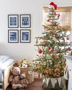 Christmas Bedroom, Christmas Home, Christmas Lights, Christmas Trees, Merry Christmas, Classic Christmas Decorations, Christmas Tree Inspiration, Faux Brick, Bedroom Colors