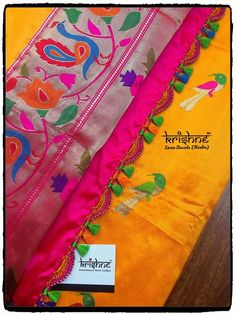 Paithani Silk Saree Tassel by Krishne Saree Tassels Designs, Saree Kuchu Designs, Best Blouse Designs, Saree Blouse Patterns, Designer Blouse Patterns, South Indian Bride Saree, Hand Embroidery Designs, Creative Embroidery, Wedding Silk Saree