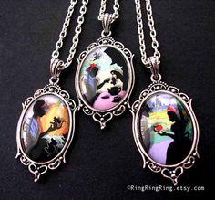 Princess silver necklace jewelry, Cinderella necklace, Mice & Pumpkin with Cinderella pendant, Picture Jewelry, Fairy tale silhouette Art