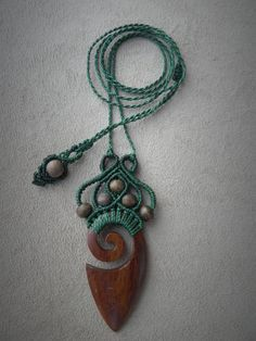 Long Wodden Macrame Boho Necklace Bohemian Spiritual Jewelry Gypsy Hippie Chic Pendant Alternative Eco Fashion Unique Gift for Women Macrame necklace with wooden pendant and beads boho by QuetzArt - My Accessories World Macrame Colar, Macrame Necklace, Macrame Knots, Tribal Necklace, Wire Earrings, Pendant Necklace, Hippie Chic, Boho Chic, Hippie Masa