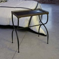 IMAX Rectangular Black X-Leg Accent - Transitional rectangular black accent table with unique legs, made of cast metal and metal tubing. Black Accent Table, Black Rectangle, Iron Table, Dot And Bo, Table Legs, Table Decorations, Modern, Furniture, Tray