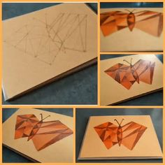 Abstract Butterfly art formed by joining various triangles with screw lines Butterfly Art, Triangles, Art Forms, Abstract, Cards, Diy, Summary, Bricolage, Do It Yourself