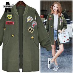 ACHIEWELL Plus Size 5XL Winter Women Jacket Coat Zipper Long Sleeve Appliques Boyfriend Army Green Women Coat Outwear #Affiliate
