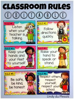 Rules (Happy and Bright Theme) Happy and bright editable classroom rules. Perfect for back to school!Happy and bright editable classroom rules. Perfect for back to school! Preschool Classroom Rules, Classroom Rules Poster, Classroom Charts, Classroom Bulletin Boards, Classroom Behavior, Classroom Language, Classroom Themes, Classroom Displays, In Kindergarten