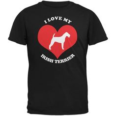 Valentines I Love My Irish Terrier Black Adult T-Shirt
