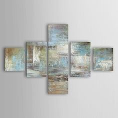 Hand-Painted Abstract Any Shape Five Panels Canvas Oil Painting For Home Decoration 2571975 2017 – $102.39