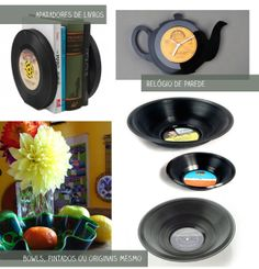 Casa de Colorir: O que fazer com discos de vinil velhos - eu disse velhos.