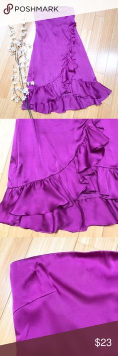 "BANANA REPUBLIC silk strapless dress, 4. NWOT! Banana Republic fuchsia silk strapless dress, size 4. New without tags. Zippered back, gorgeous ruffles. This is high-quality and wonderful. Bust measures approximately 16.5 inches across and is darted to accommodate a few more inches. Needs a 36"" bust or bigger (kept falling off my 34"" bust mannequin). Waist measures 15 inches across, length is 33 inches in the front, 39 inches in the back. So gorgeous! Banana Republic Dresses Strapless"