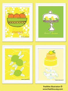 3 kitchen art prints: orange, lemon & lime. bright citrus colors