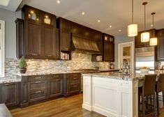 Trendy Kitchen Colors Dark Cabinets Two Tones Ideas Dark Wood Kitchen Cabinets, Dark Wood Kitchens, Brown Cabinets, Brown Kitchens, Kitchen Paint, New Kitchen, Kitchen Ideas, Island Kitchen, Kitchen Tips