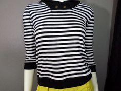 LRL Lauren Jeans Co Blue & White Striped 3/4 Sleeve Hooded Shirt #LaurenRalphLaurenLRL #KnitTop #Casual