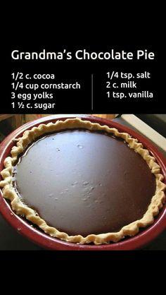 Grandma's chocolate pie Grandma's Chocolate Pie, Pie Shell, Pie Dish, Group Meals, Pie Dessert, Pie Recipes, Dessert Recipes, Cooking Recipes, Dessert Ideas