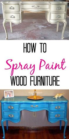 How To Spray Paint Wooden Furniture Finding Silver Linings is part of Spray painting wood furniture - How to spray paint wood furniture Simple tutorial includes step by step photos Easy DIY for a cheap craigslist find This project can be done in a day Spray Paint Furniture Without Sanding, Spray Paint Dresser, Spray Paint Wood, Spray Paint Projects, Silver Spray Paint, Spray Paint Table, Primer Spray Paint, Repaint Wood Furniture, Spray Painting Wood Furniture