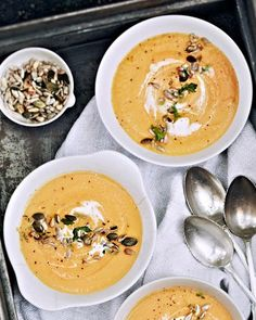 Sweet Potato Soup with Pumpkin Seeds & Thyme (i skipped the heavy cream and subbed in full-fat coconut milk. Amaze)