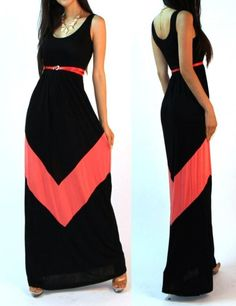 NEW VTG ST BLACK COLOR BLOCKED EMPIRE WAISTED RAYON KNIT LONG MAXI SUN DRESS S
