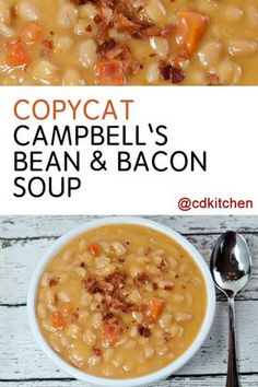 Four Kitchen Decorating Suggestions Which Can Be Cheap And Simple To Carry Out Copycat Campbell's Bean and Bacon Soup - The Bean And Bacon Soup By Campbell's Is A Long Time Favorite Of Many. Presently You Can Nix The Can And Make It From Scratch Seafood Soup Recipes, Bean Soup Recipes, Crockpot Recipes, Cooking Recipes, Copycat Recipes, Dinner Recipes, Ninja Recipes, Paleo Recipes, Bean And Bacon Soup