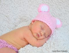 Pink Panda Bear Newborn Girl Beanie Hat Photo Prop by FashionTouch, $25.00