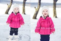 little girl in the snow, 2 yrs old, pink coat, white hat