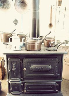 This is similar to the wood cookstove Ma and Pa had when I was younger. Later they got a regular stove. There was a woodbox by the stove, which I have.