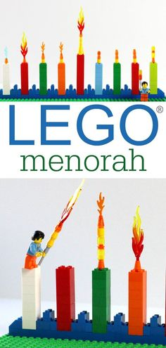 How to make an easy LEGO menorah for Hanukkah. Great flameless way for kids to celebrate.