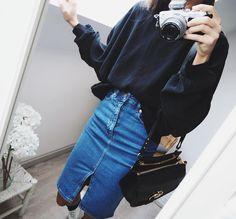 """Nina Urgell Cloquell on Instagram: """"Denim in my mind Wearing @asos_es high waist skirt + @hm shirt """""""