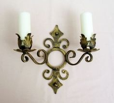 WROUGHT-IRON-CANDLE-WALL-SCONCE-HOLDER-LARGE-H-WEIGHT