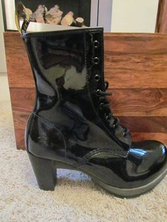 Doctor Marten Darcie boots - patent black leather - my favourite! I have two pairs