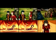 Suki: (bumps into Zuko, flustered) Oops! Wrong tent!  Zuko: Sorry, do you need to talk to Sokka too?  Suki: Nope, not me.  Sokka: Well helllooo— *swallows rose* — ah Zuko! Yes! Why would I be expecting anyone different?!