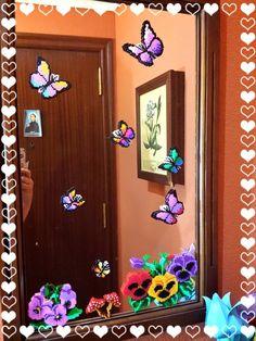 mariposas en el espejo  hama beads