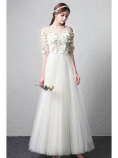 bccab9395 Romantic Illusion Neckline Butterflies Simple Wedding Dress with Half  Sleeves  E8927 - GemGrace.com. Vestidos ...