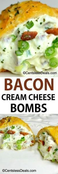 Bacon Cream Cheese Bombs recipe (going to make a some fathead dough to use instead of biscuits to make this keto-friendly) Finger Food Appetizers, Yummy Appetizers, Appetizers For Party, Appetizer Recipes, Freezable Appetizers, Cream Cheese Recipes Dinner, Sandwich Appetizers, Vegetable Appetizers, Cream Recipes