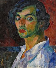 'Self portrait' (1909) by Swedish Expressionist painter Isaac Grünewald (1889-1946)| Oil on canvas | 56 x 46 cm