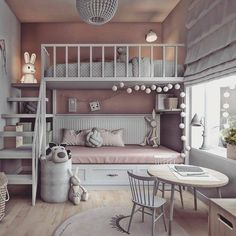 Inspiring Shared Kids Room Ideas For Twins 10 Small Room Bedroom, Trendy Bedroom, Bedroom Colors, Small Rooms, Home Decor Bedroom, Bedroom Décor, Bedroom Ideas, Bedroom Storage, Warm Bedroom