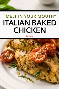 Rich balsamic vinegar savory herbs and juicy tomatoes make this Italian Baked Chicken dish live up to its name. You won't be disappointed! Healthy Food Recipes, Healthy Family Meals, Low Carb Recipes, Cooking Recipes, Ww Recipes, Weekly Recipes, Duck Recipes, Oven Recipes, Cream Recipes
