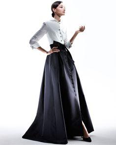 Carolina herrera Shirtwaist Taffeta Ball Gown in Black (ivory/black)   Lyst